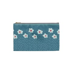 Cloudy Sky With Rain And Flowers Cosmetic Bag (Small)