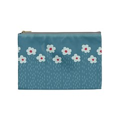 Cloudy Sky With Rain And Flowers Cosmetic Bag (Medium)