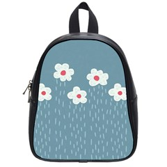 Cloudy Sky With Rain And Flowers School Bags (Small)