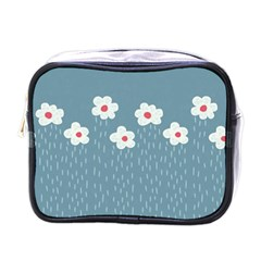 Cloudy Sky With Rain And Flowers Mini Toiletries Bags