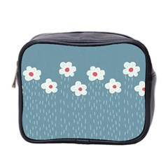 Cloudy Sky With Rain And Flowers Mini Toiletries Bag 2-Side