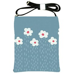 Cloudy Sky With Rain And Flowers Shoulder Sling Bags
