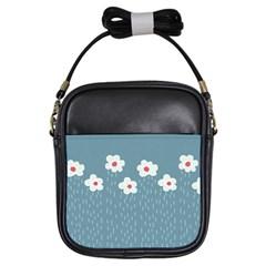 Cloudy Sky With Rain And Flowers Girls Sling Bags