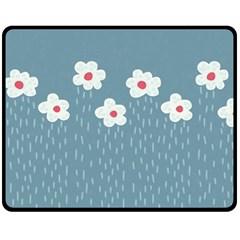 Cloudy Sky With Rain And Flowers Fleece Blanket (Medium)