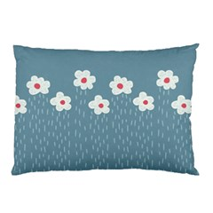 Cloudy Sky With Rain And Flowers Pillow Case (Two Sides)