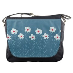 Cloudy Sky With Rain And Flowers Messenger Bags