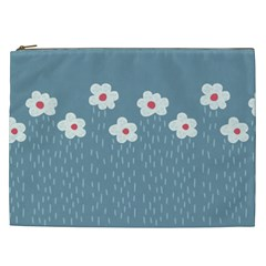 Cloudy Sky With Rain And Flowers Cosmetic Bag (XXL)