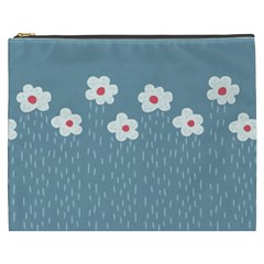 Cloudy Sky With Rain And Flowers Cosmetic Bag (XXXL)