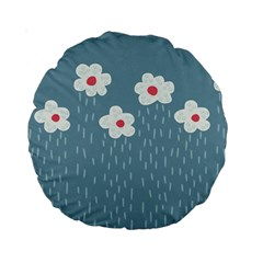 Cloudy Sky With Rain And Flowers Standard 15  Premium Round Cushions