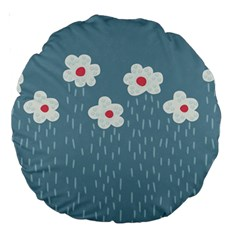 Cloudy Sky With Rain And Flowers Large 18  Premium Round Cushions