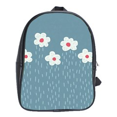 Cloudy Sky With Rain And Flowers School Bags (XL)