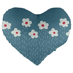 Cloudy Sky With Rain And Flowers Large 19  Premium Heart Shape Cushions