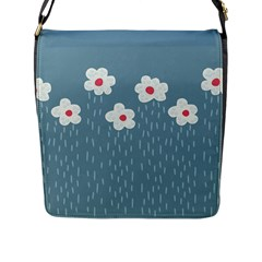 Cloudy Sky With Rain And Flowers Flap Messenger Bag (l)