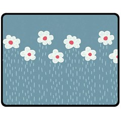 Cloudy Sky With Rain And Flowers Double Sided Fleece Blanket (medium)