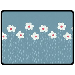 Cloudy Sky With Rain And Flowers Double Sided Fleece Blanket (large)