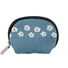 Cloudy Sky With Rain And Flowers Accessory Pouches (small)