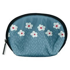 Cloudy Sky With Rain And Flowers Accessory Pouches (Medium)
