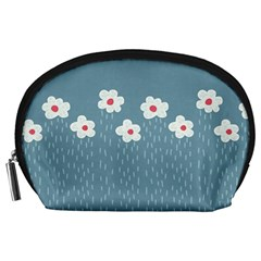 Cloudy Sky With Rain And Flowers Accessory Pouches (large)
