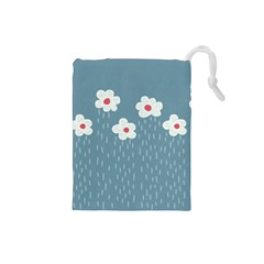 Cloudy Sky With Rain And Flowers Drawstring Pouches (small)