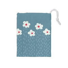 Cloudy Sky With Rain And Flowers Drawstring Pouches (Medium)