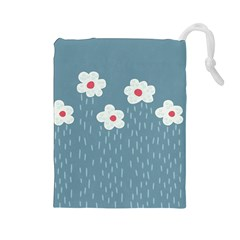 Cloudy Sky With Rain And Flowers Drawstring Pouches (large)