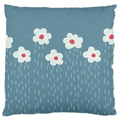Cloudy Sky With Rain And Flowers Large Flano Cushion Case (one Side)