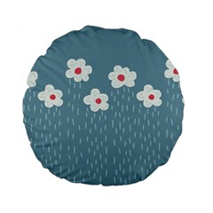 Cloudy Sky With Rain And Flowers Standard 15  Premium Flano Round Cushions