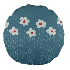 Cloudy Sky With Rain And Flowers Large 18  Premium Flano Round Cushions