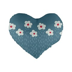 Cloudy Sky With Rain And Flowers Standard 16  Premium Flano Heart Shape Cushions