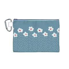Cloudy Sky With Rain And Flowers Canvas Cosmetic Bag (M)