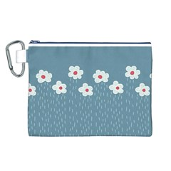 Cloudy Sky With Rain And Flowers Canvas Cosmetic Bag (L)