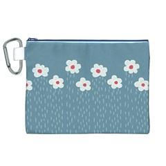 Cloudy Sky With Rain And Flowers Canvas Cosmetic Bag (xl)