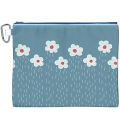 Cloudy Sky With Rain And Flowers Canvas Cosmetic Bag (XXXL)