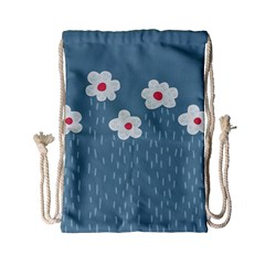 Cloudy Sky With Rain And Flowers Drawstring Bag (small)
