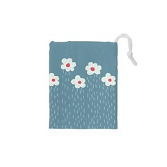 Cloudy Sky With Rain And Flowers Drawstring Pouches (XS)