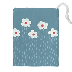 Cloudy Sky With Rain And Flowers Drawstring Pouches (XXL)