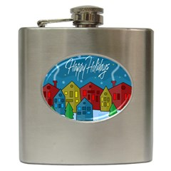 Xmas landscape Hip Flask (6 oz)
