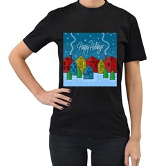 Xmas landscape Women s T-Shirt (Black) (Two Sided)