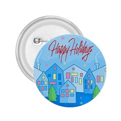Xmas landscape - Happy Holidays 2.25  Buttons