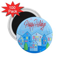 Xmas landscape - Happy Holidays 2.25  Magnets (100 pack)