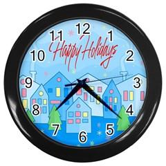 Xmas landscape - Happy Holidays Wall Clocks (Black)