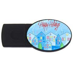 Xmas landscape - Happy Holidays USB Flash Drive Oval (1 GB)