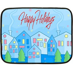 Xmas Landscape   Happy Holidays Double Sided Fleece Blanket (mini)