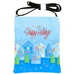 Xmas landscape - Happy Holidays Shoulder Sling Bags