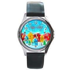 Christmas magical landscape  Round Metal Watch