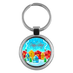Christmas magical landscape  Key Chains (Round)