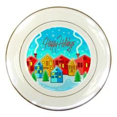 Christmas magical landscape  Porcelain Plates