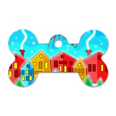 Christmas magical landscape  Dog Tag Bone (One Side)