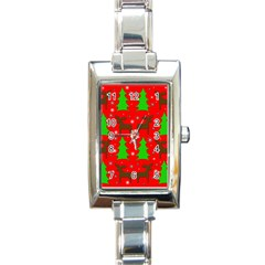 Reindeer and Xmas trees pattern Rectangle Italian Charm Watch