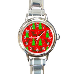 Reindeer and Xmas trees pattern Round Italian Charm Watch